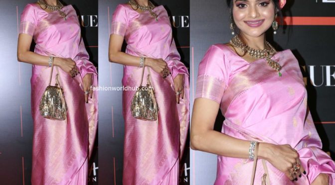 Madhoo Shah in a pink saree at Vogue Power List 2019