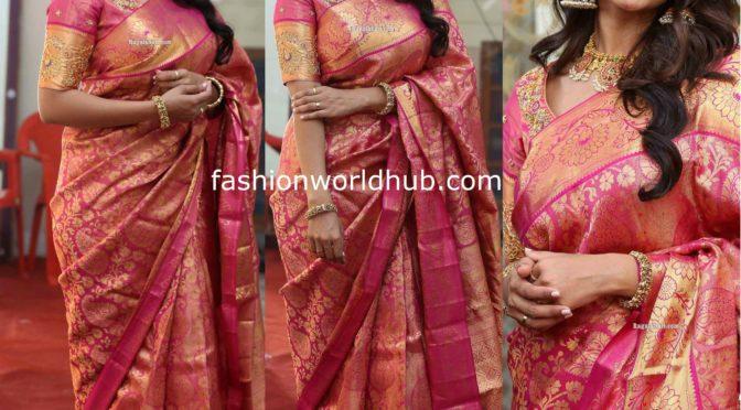 Nivetha Pethuraj in a Pink Kanchipattu saree!