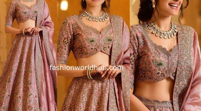 Pragya Jaiswal in a pink lehenga at her sister's wedding reception