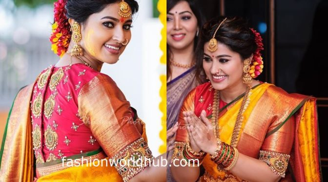 Sneha in Red high neck embroidery work blouse!