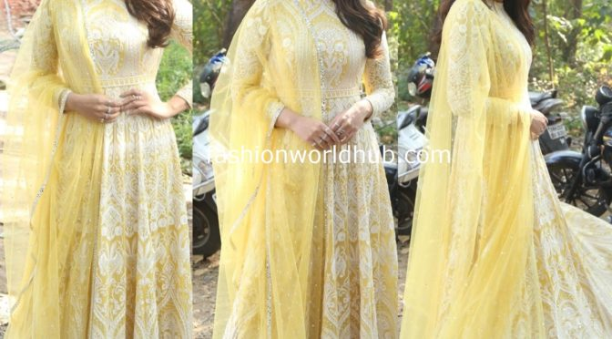Sonakshi Sinha in a yellow anarkali suit