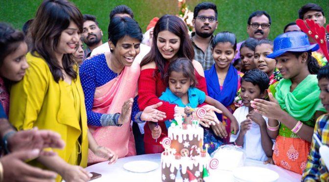 Samantha akkineni celebrates Christmas at prathysha support organization!!