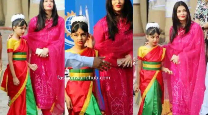 Aishwarya Rai Bachchan in pink Salwar at  Aaradhya school annual function!
