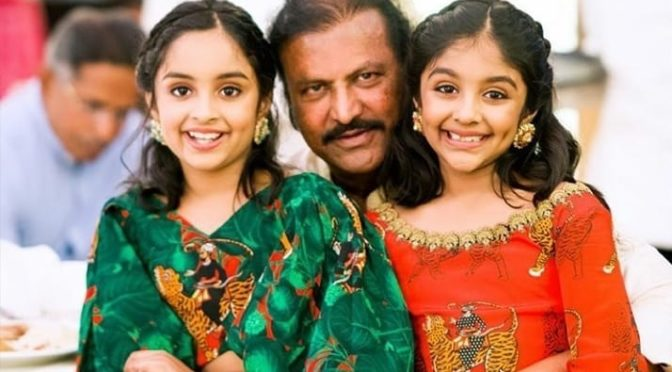 Mohanbabu with his Grand daughters!