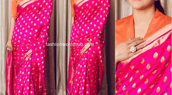 Kajol in Raw Mango saree for promotions of Tanhaji!