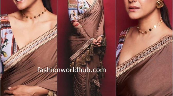 kajol in Tassel saree for promotions of Tanhaji