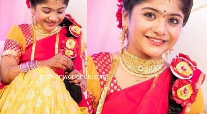 Karthika deepam serial baby actress Krithika in Yellow half saree!