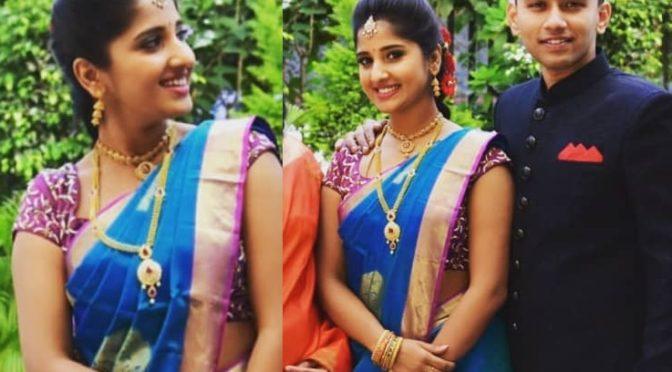 Meghana lokesh in a blue silk saree!