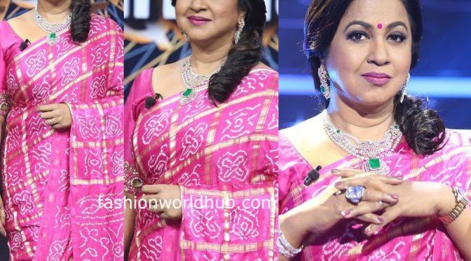 Radhika Sarathkumar in a Pink bandhani saree!