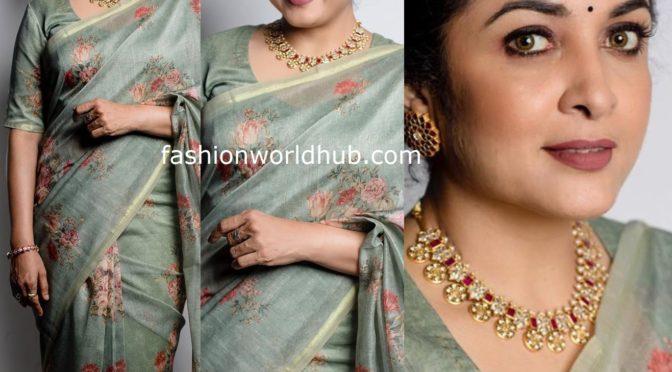 Ramya Krishnan in a floral saree