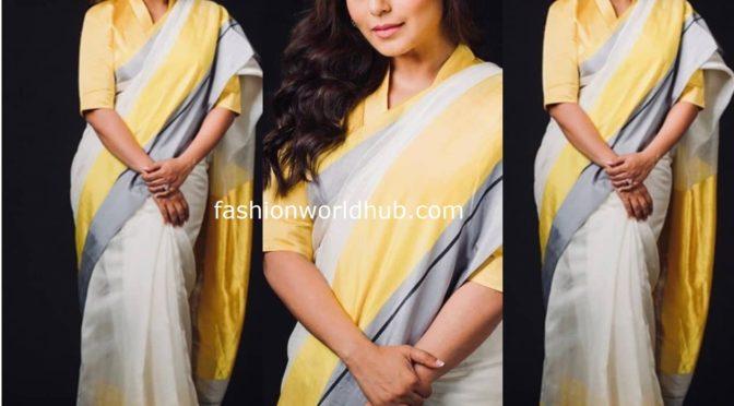 Rani Mukerji in Chanderi saree by Raw mango!