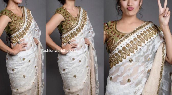 Rashmika Mandanna in a white saree!