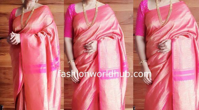 Sneha Prasanna in a Pink Kanchipattu saree!