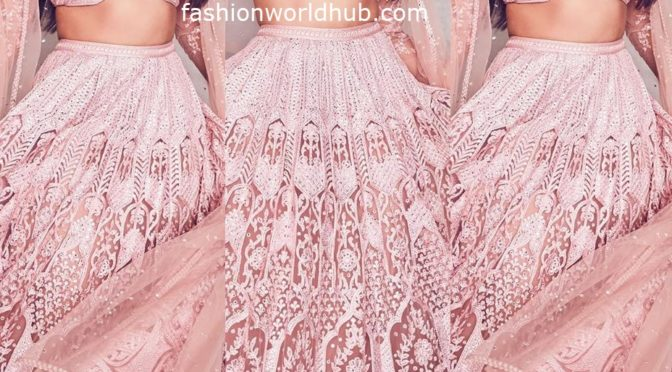 Sonakshi Sinha in a pink Lehenga for promotions of Dabangg3