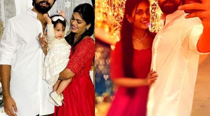 Sreeja Kalyan in Red gown at her daughter Navishka's first birthday!