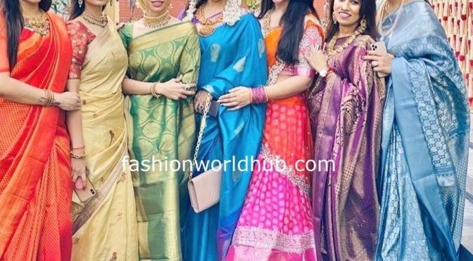 Celebrities in traditional sarees at a recent wedding!