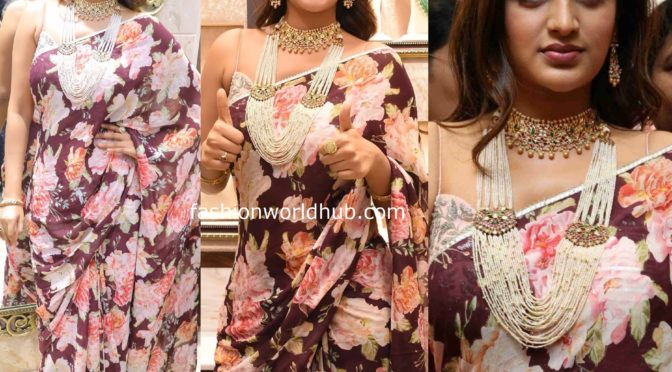 Nidhhi Agerwal in a floral saree!