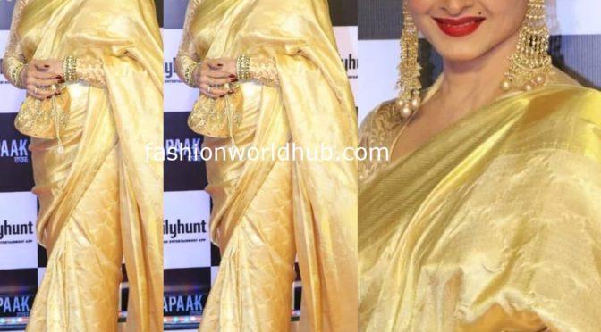 Rekha in a gold kanjeevaram saree at Chhapaak Screening!