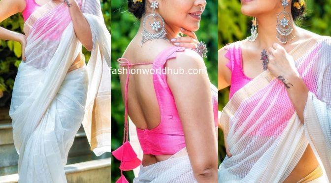 Anasuya in a handloom saree