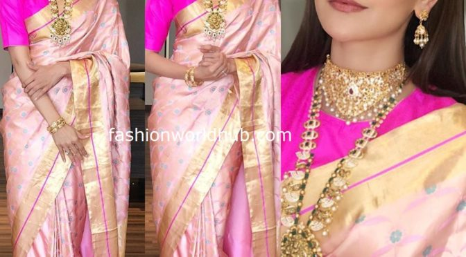 Kajal Aggarwal in a pink silk saree by Raw Mango!