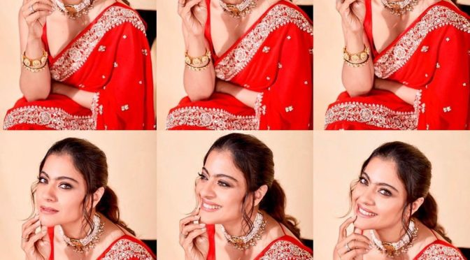 Kajol in a Red saree by Anita Dongre