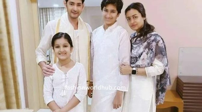 Mahesh babu family in traditional white outfits!