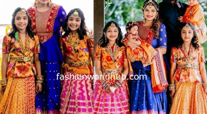 Viranica Manchu and her kids in Paithani silk Outfits!