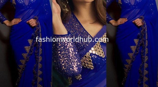Mehreen Pirzadaa in a royal blue saree!