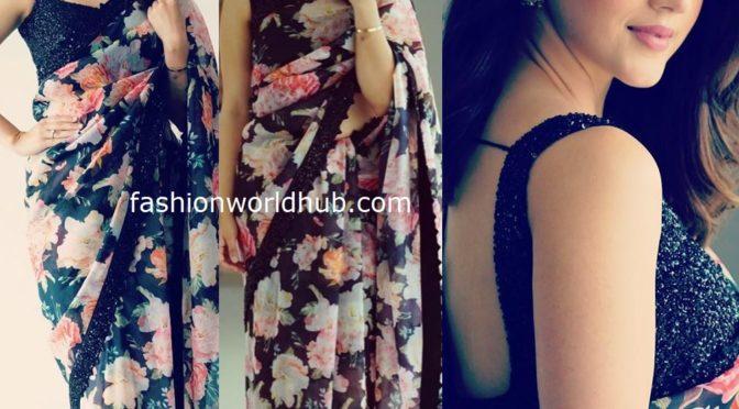 Mehreen Pirzadaa in a floral saree!