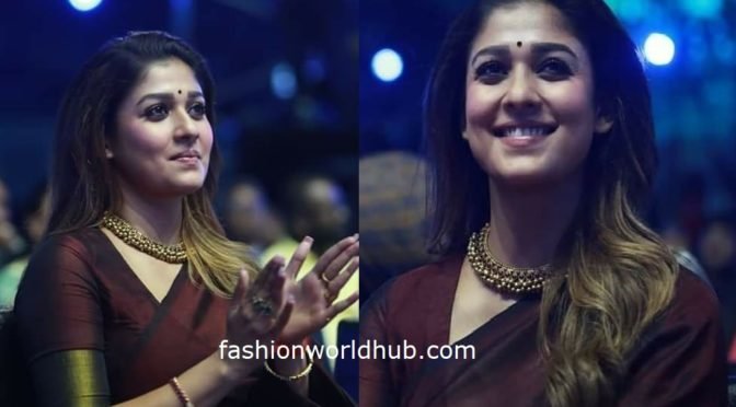 Nayanthara in a handloom saree at Zee Cine Awards Tamil 2020