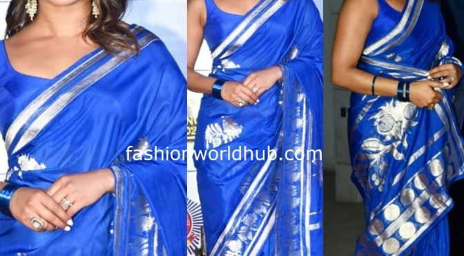 Priyanka Chopra in a blue banarasi silk saree at Umang Police Show 2020