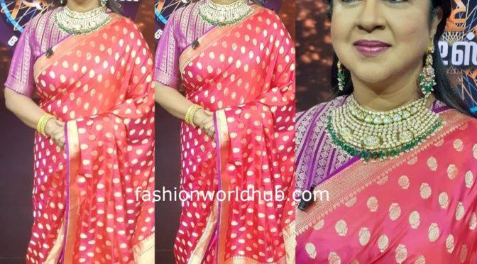 Radhika sarathkumar in a pink Banarasi silk saree!