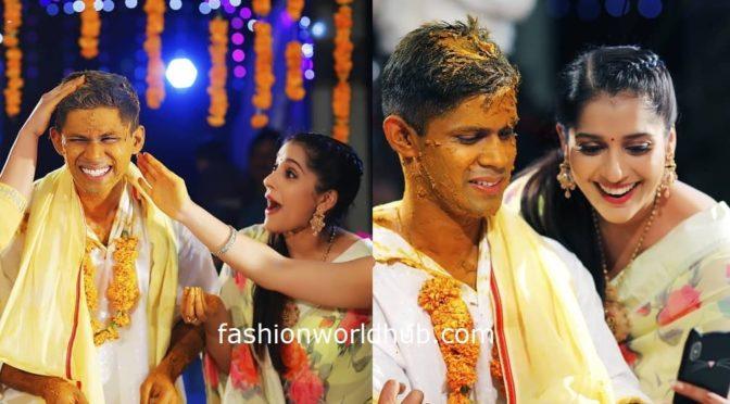 Rashmi gautam in a floral saree at her brother wedding!