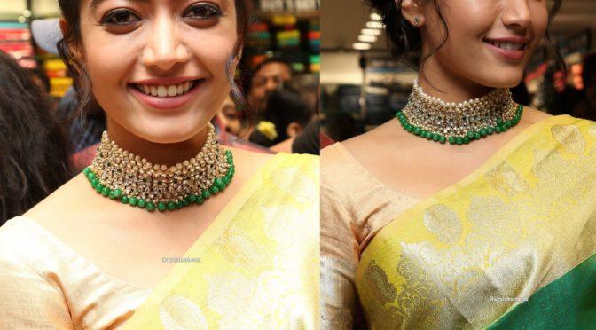 Rashmika Mandanna in a green silk saree!