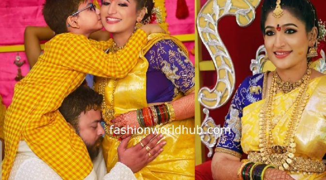 Santhoshi Srikar in Yellow kanjeevaram Saree!