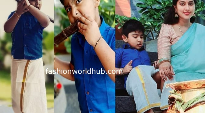 Sneha's son Vihaan in Traditional dhoti!