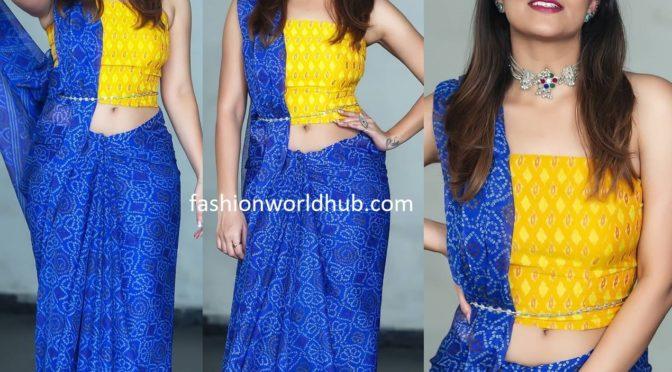 Anasuya bharadwaj in blue bandhani saree!