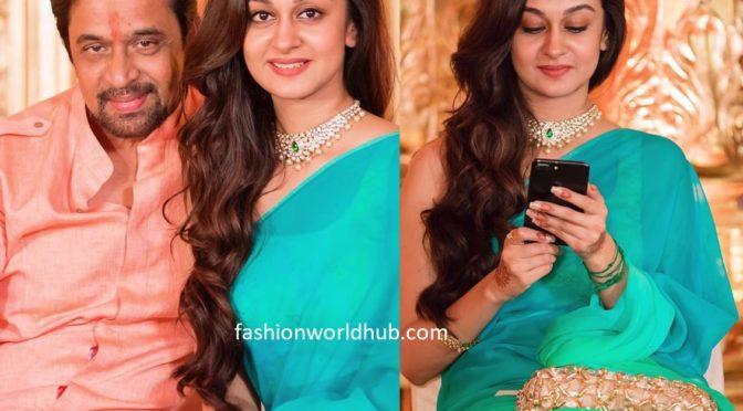 Aishwarya Arjun in a shaded saree!