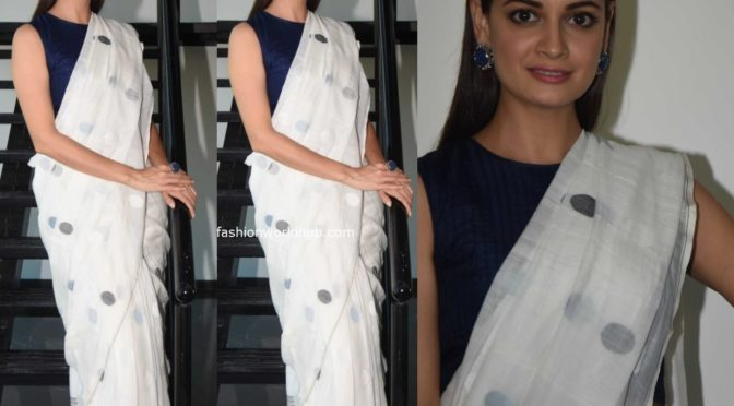 Dia Mirza in a polka dot saree at Thappad promotions