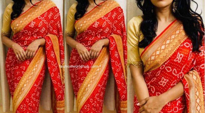 Hebbah Patel in a Red Banarasi bandhani saree!