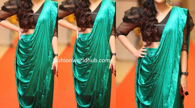 Kalpika Ganesh in a green pre-stitched saree