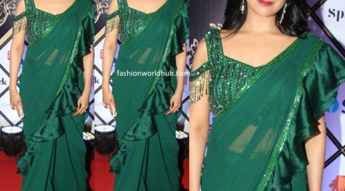 Divyanka Tripathi in a green ruffle saree