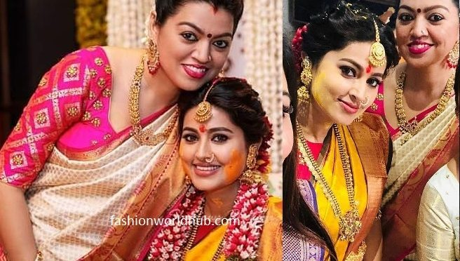 Sneha's sister Geetu in White kanjeevaram saree at Sneha Seemantham function!