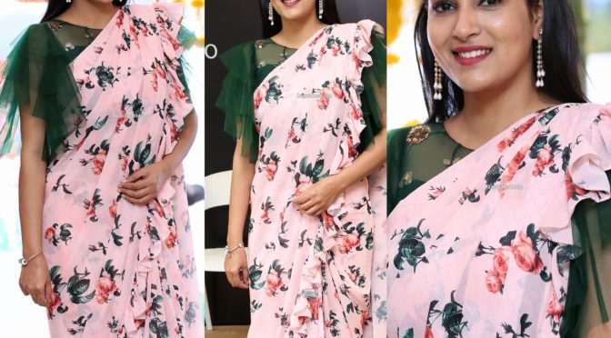 Himaja in a floral print ruffle saree!