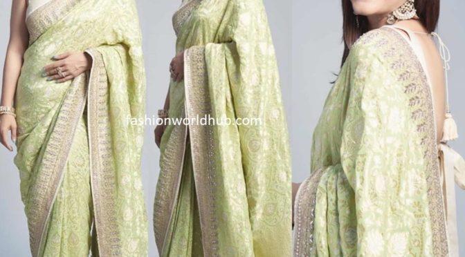 Kajol in a green banarasi silk saree