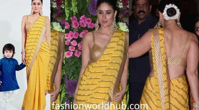 Kareena Kapoor in a yellow saree at Armaan Jain's wedding