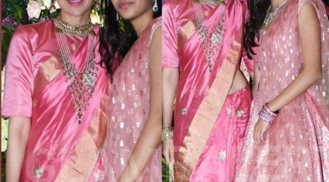 Karisma Kapoor and daughter Samiera in pink at Armaan Jain's wedding