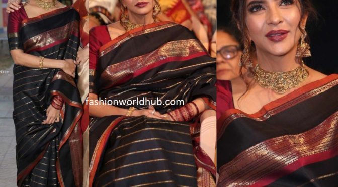 Lakshmi Manchu in a black silk saree
