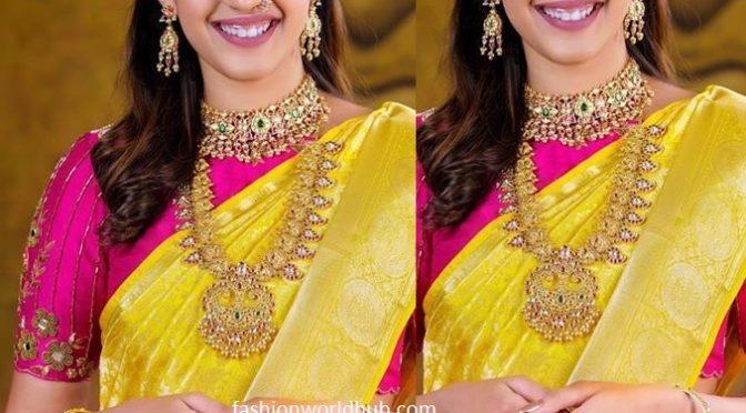 Niharika konidela in yellow kanjeevaram silk saree!