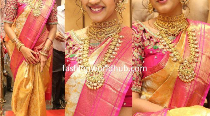 Niharika konidela in a Gold kanjeevaram saree!